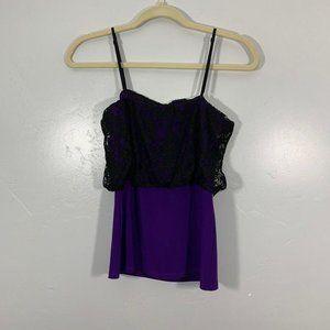 Vintage Y2K Purple Black Lace Mesh Square Neck Top